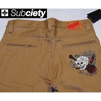 SubcietyサブサエティWORK PANTS -CLASSIC- EMBROIDERY(SKULL)BEIGE