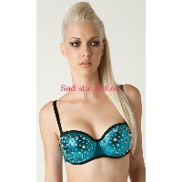 【即納】L.A.Roxx Metallic push-up bra in Silver with Turquoise spikes 【L.A.Roxx (ダンスウェア、レザー、ボンテージ、衣装)】...