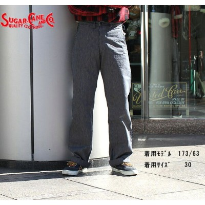 No.SC41499 SUGAR CANE シュガーケーンFICTION ROMANCE9oz.INDIGO STRIPEFORESIDE POCKETS