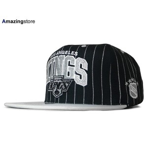 MITCHELL&NESS LOS ANGELS KINGS 【PINSTRIPE 2T TEAM ARCH SNAPBACK/BLK-GREY】 ミッチェル&ネス ロサンゼルス キングス...