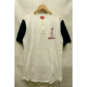 Supreme シュプリーム 14SS Pink Panther Henley Tee ピンクパンサー ヘンリーネック 半袖 Tシャツ 白 紺 サイズ:S 【中古】【送料無料】