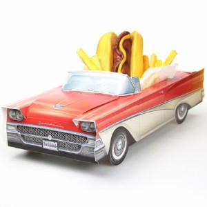 1958 Ford Fairlane  Pacer Party Container ペーパークラフトカー・パーティーコンテナー・アメ車・アメリカ雑貨・フォード・フェアレーン・小物入れ・チップス...