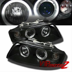 アウディ ヘッドライト 2002-05 AUDI A4/S4 New 1PC Black Projector Headlight Halo Driving Lamp Assembly 2002-05...