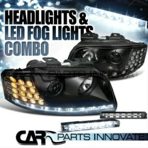 アウディ ヘッドライト 02-04 Audi A6 R8 Style Black Projector LED Signal Headlights+6-LED Fog Lamps 2月4日アウディA6...