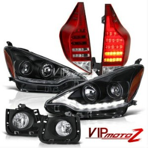 トヨタ アクア ヘッドライト 2012 2013 2014 Toyota Prius C Aqua JDM Wavey LED Headlight Tail Lights Fog Lamp 2012...