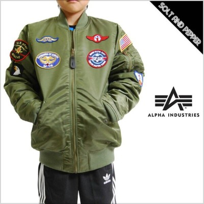 USモデル ALPHA INDUSTRIES アルファ インダストリー YOUTH TODDLER MA-1 JACKET W/PATCHES JKT SAGE GREEN ユース トドラー...