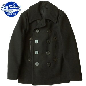BUZZ RICKSON'S #BR12394 WILLIAM GIBSON COLLECTION 36oz. WOOL MELTON PEA COAT 【ブラック】 【送料無料・沖縄・離島除く】