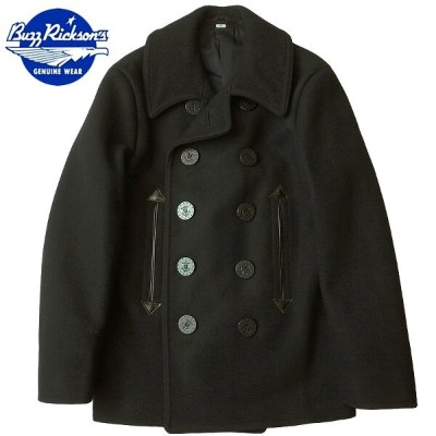 ノベルティープレゼント BUZZ RICKSON'S #BR12394 WILLIAM GIBSON COLLECTION 36oz. WOOL MELTON PEA COAT 【ブラック】 ...