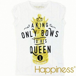 Happiness ハピネス 2016年春夏新作 ハピネス レディース 半袖 Tシャツ  A KING ONLY BOWS TO HIS QUEEN