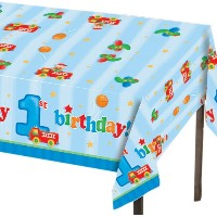 "Creative Converting Fun at One Happy First Birthday Boy Plastic Table Cover, Rectangle 54 x 108""..."