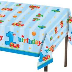 "Creative Converting Fun at One Happy First Birthday Boy Plastic Table Cover, Rectangle 54 x 108"" おもちゃ【並行輸入品】"