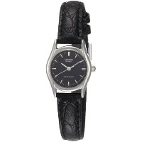 カシオ Casio Women's LTP1094E-1A Black Leather Quartz Watch with Black Dial 女性 レディース 腕時計 【並行輸入品】
