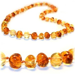 The Art of Cure Baltic Amber Teething Necklace (Unisex) (1x1) - Anti-inflammatory, Drooling & Teething Pain Reduce Properties - 100% Authentic Certificated Baltic Jewelry with the Highest Quality Guaranteed. Easy to Fastens with a Twist-in Screw Clasp Mot