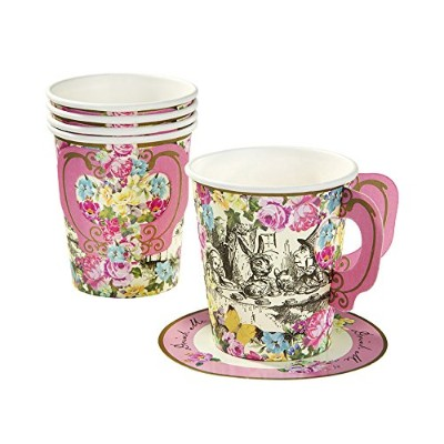 Talking Tables Truly Alice Mad Hatter Cup & Saucer for a Teaパーティー、マルチカラー(12パック)