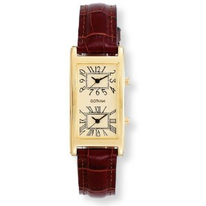 時計 Gotham ゴッサム Men's Gold-Tone Dual Time Zone Leather Strap Watch # GWC15090GC メンズ 男性用 [並行輸入品]