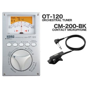 KORG ORCHESTRAL TUNER OT-120 + CONTACT MICROPHONE CM-200-BK セット