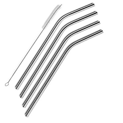 SipWell Stainless Steel Drinking Straws, Set of 4, Free Cleaning Brush Included by SIPWELL