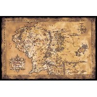 Lord of the Rings Poster MAp of Middle earth (dark) (91,5cm x 61cm)