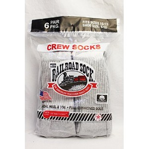"RAILROAD SOCK (レイルロードソック) / ""MADE IN U.S.A."" 6P CREW WORK SOCKS (GREY)"