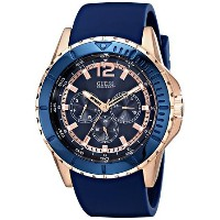 ゲス GUESS Men's U0485G1 Comfortable Rose Gold-Tone & Blue Silicone Multi-Function Watch 男性 メンズ 腕時計 ...