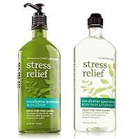 Body Works Aromatherapy Stress Relief Eucalyptus Spearmint 10 Oz Body Wash & Foam Bath and 6.5 Oz...