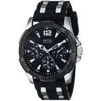ゲス GUESS Men's U0366G1 Black Multi-Function Sporty Watch with Silver Interlinks 男性 メンズ 腕時計 【並行輸入品】