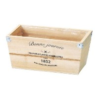 GREEN HOUSE Logo wood planter N (ナチュラル) (215×120×95mm) 3077-C