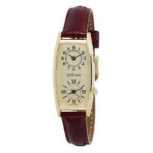 腕時計 Gotham Women's Gold-Tone Dual Time Zone Leather Strap Watch # GWC15092GB【並行輸入品】