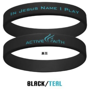 "Active Faith ""In Jesus Name I Play"" シリコンバンド ブレスレット Black/Teal Lサイズ"
