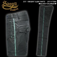 SAVOY CLOTHINGサヴォイクロージング◆SVY VINCENT SLIM PANTS◆◆BLACK×M.GREEN◆SVY-PT064