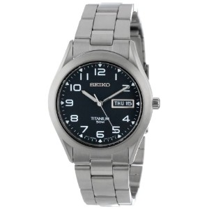 Seiko セイコー メンズ腕時計 Men's SGG711 Black Dial Titanium Watch