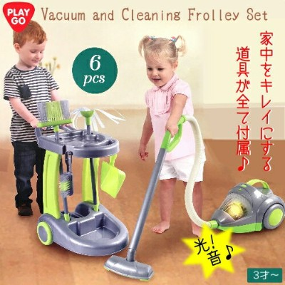 PLAY GO Vacuum and Cleaning Frolley Setプレイゴー 掃除機 クリーニングセットおそうじセット おままごと6点セット 3才~ お掃除道具 6点セット【smtb...