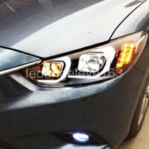 マツダ アテンザ ヘッドライト For MAZDA 6 ATENZA LED Strip C Style Headlights Front Lamps 2013 to 2015 year LF...