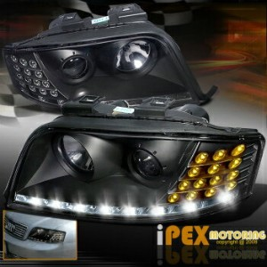 アウディ ヘッドライト Facelifted 2002 2003 2004 Audi A6 C5 Projector LED Black Headlight w/ LED Signal...