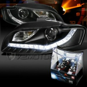 アウディ ヘッドライト For 06-08 Audi A4 Black R8 LED DRL Projector Headlights+H11 Halogen Bulbs 06から08のためのアウディ...