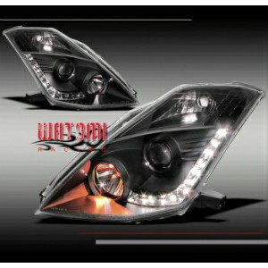 日産 フェアレディー Z ヘッドライト DRL LED PROJECTOR HEADLIGHT BLACK (HID VERSION) FOR 06 07 08 09 350Z FAIRLADY...