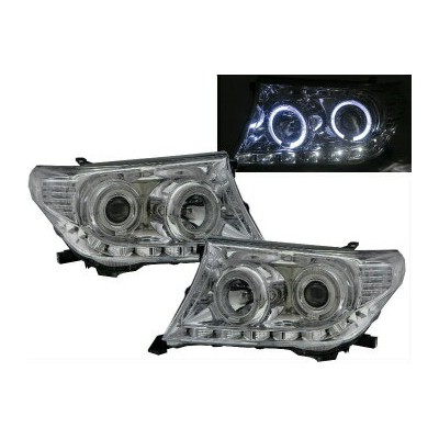 トヨタ ランドクルーザー ヘッドライト Land Cruiser FJ200 2009-2011 Halo Projector Headlight LED CHROME for TOYOTA LHD...