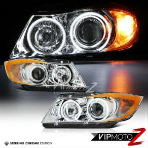BMW ヘッドライト 2005-08 Metallic Chrome BMW E90 3-Series Twin Halo Projector Headlights W/ Amber 2005...
