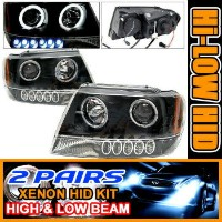 Jeep Grand Cherokee ヘッドライト 2 Set HID 99-04 Cherokee Halo Projector Headlight Black 2セットは99から04チェロキーヘ...