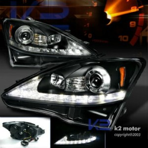 レクサス ヘッドライト 2006-2009 Lexus IS250 Black LED DRL+Turn Signal Strip Projector Headlights 2006...