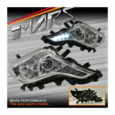 トヨタ ランドクルーザー ヘッドライト Crystal Day-Time DRL LED Projector Head Lights Toyota Land-Cruiser Prado 14-16...