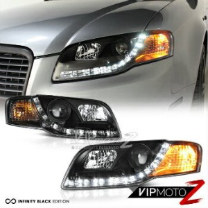 アウディ ヘッドライト 2006-2008 AUDI A4 B7 New Black Projector Headlight Lamps+R8 Style LED DRL Strip 2006...