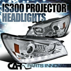 レクサス ヘッドライト 2001-2005 Lexus IS300 Chrome LED DRL+Signal Strip Projector Headlights Pair 2001...