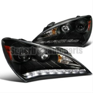 アウディ ヘッドライト 2010-2012 Genesis Projector Headlights Black+Audi R8 Led DRL Black SpecD Tuning 2010...