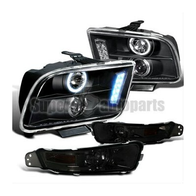 フォード マスタング ヘッドライト 2005-2009 Ford Mustang Projector LED Headlights Black+Bumper Lamps Smoke 2005...