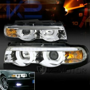BMW ヘッドライト BMW 95-01 E38 7-Series 740i 740i Chrome Dual Halo LED DRL Projector Headlights BMW...