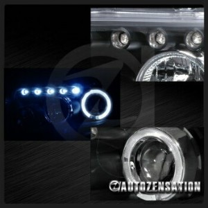 トヨタ bB ヘッドライト 08-10 Scion xB bB Black LED DRL Dual Halo Projector Headlights 08-10サイオンxBのbBでブラックLED...