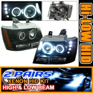 Chevrolet Avalanche ヘッドライト 2 Sets HID 07 + Suburban Tahoe Halo Projector Headlight 2セットは07 ...