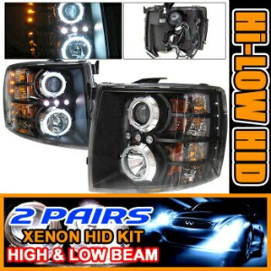 Chevrolet Silverado ヘッドライト 2 Set HID 07-08 Silverado CCFL Halo Projector Headlight 2セットは07...