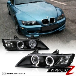"BMW ヘッドライト 1996-2002 BMW Z3 ""M-POWER"" Black Angel Eye Halo Ring Projector Headlights LH+RH 1996..."